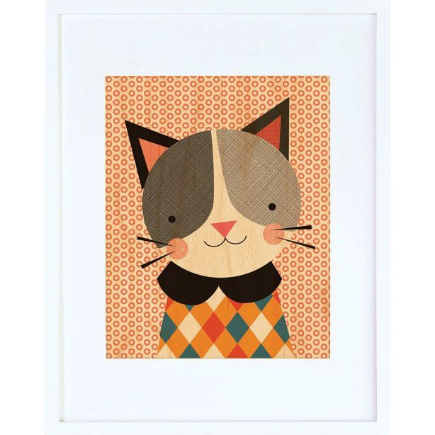 Hip Cat Framed Print - $44.00  Printed on sustainably harvested maple veneer and framed in a modern white hardwood frame. Includes a glass front and comes ready to hang.