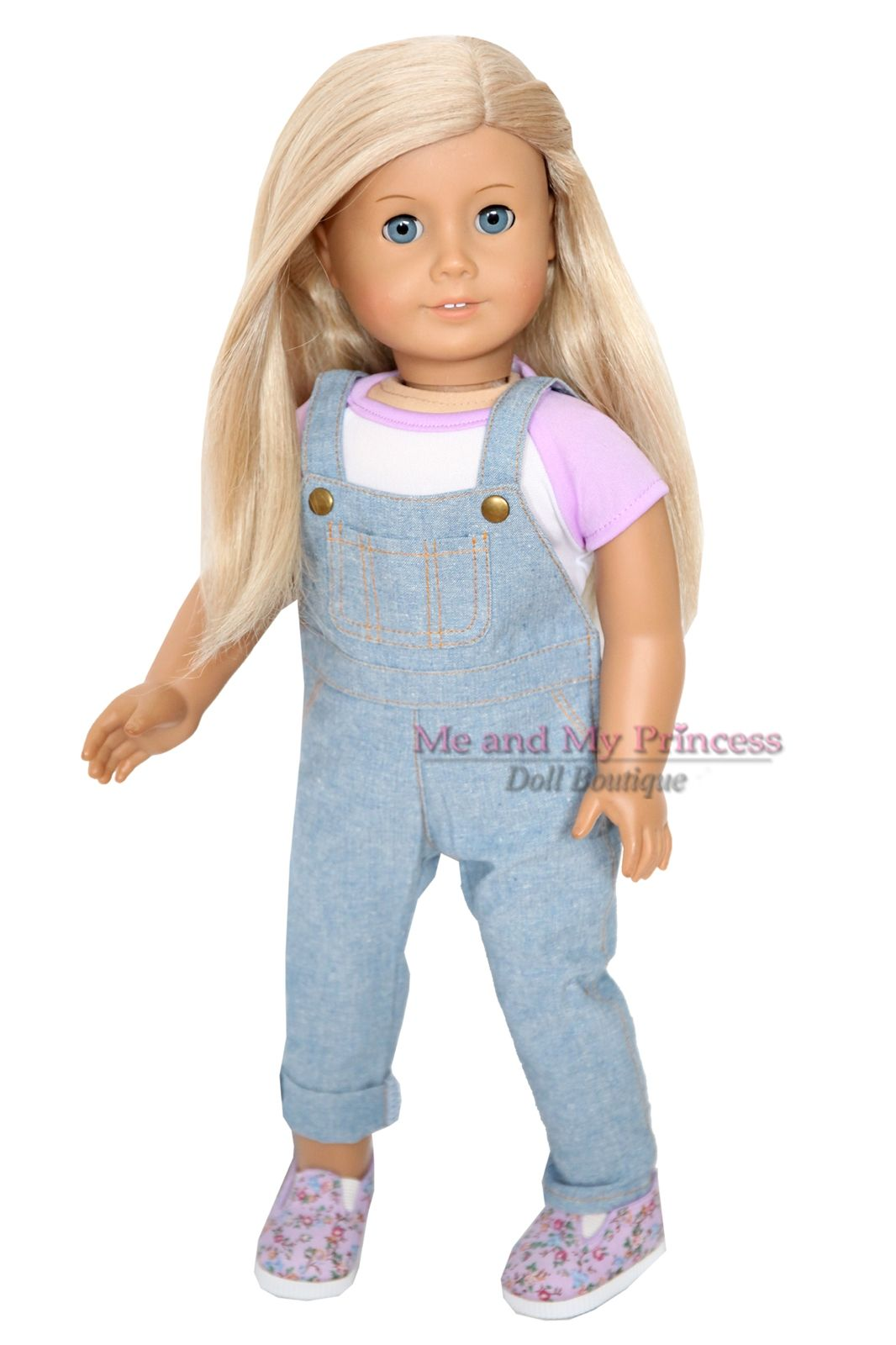 """Blue Denim Overalls Jean Outfit  Fits American Girl 18/"""" Doll Clothes"""
