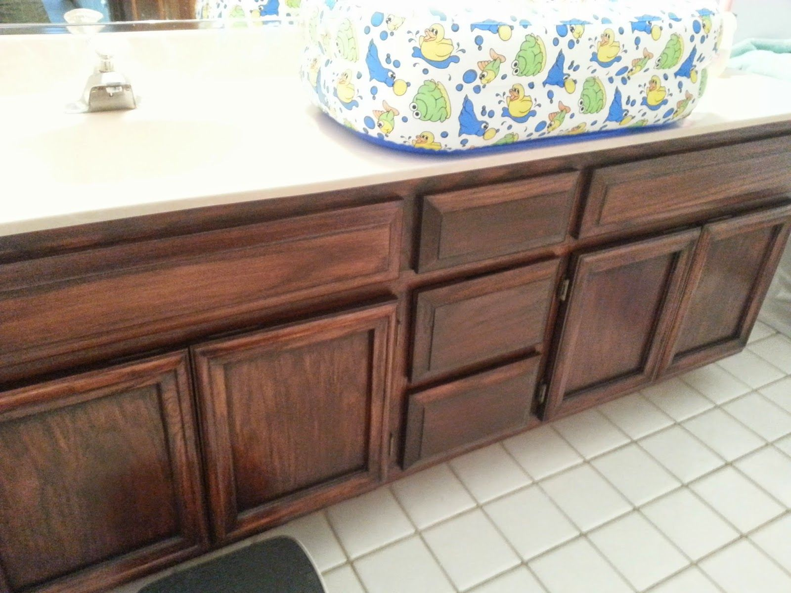 General Finishes Brown Mahogany Gel Stain On Bathroom Cabinets By Give It A  Go Mama