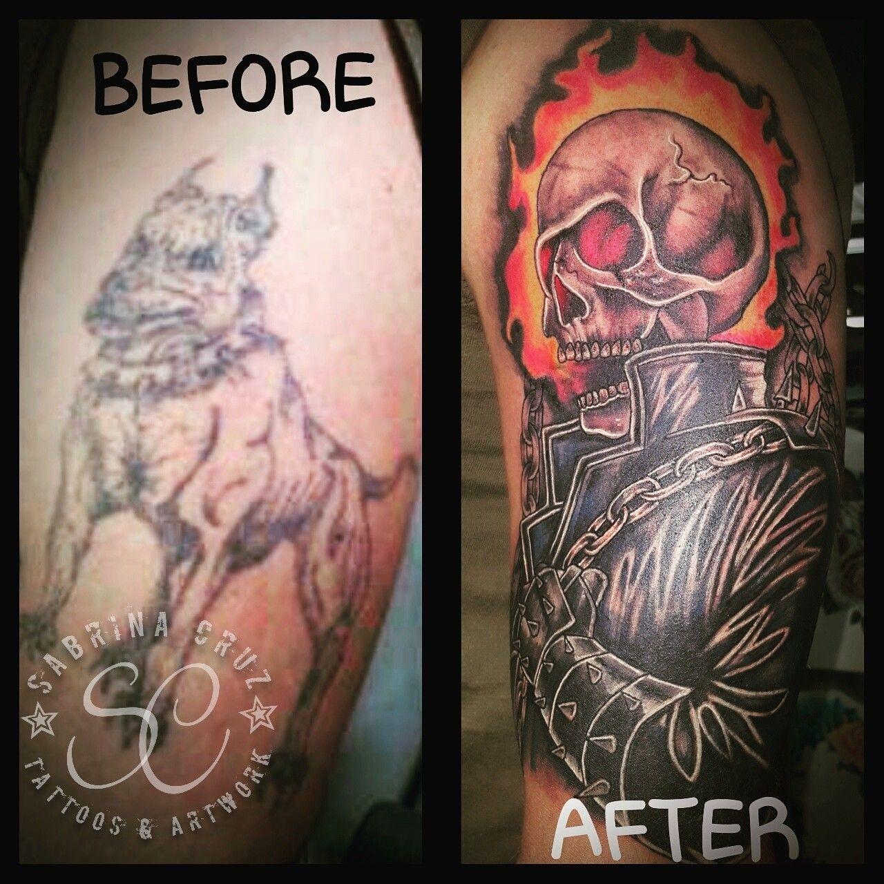 Ghost rider coverup tattoo.Artist Sabrina Cruz Jacksonville Nc ...