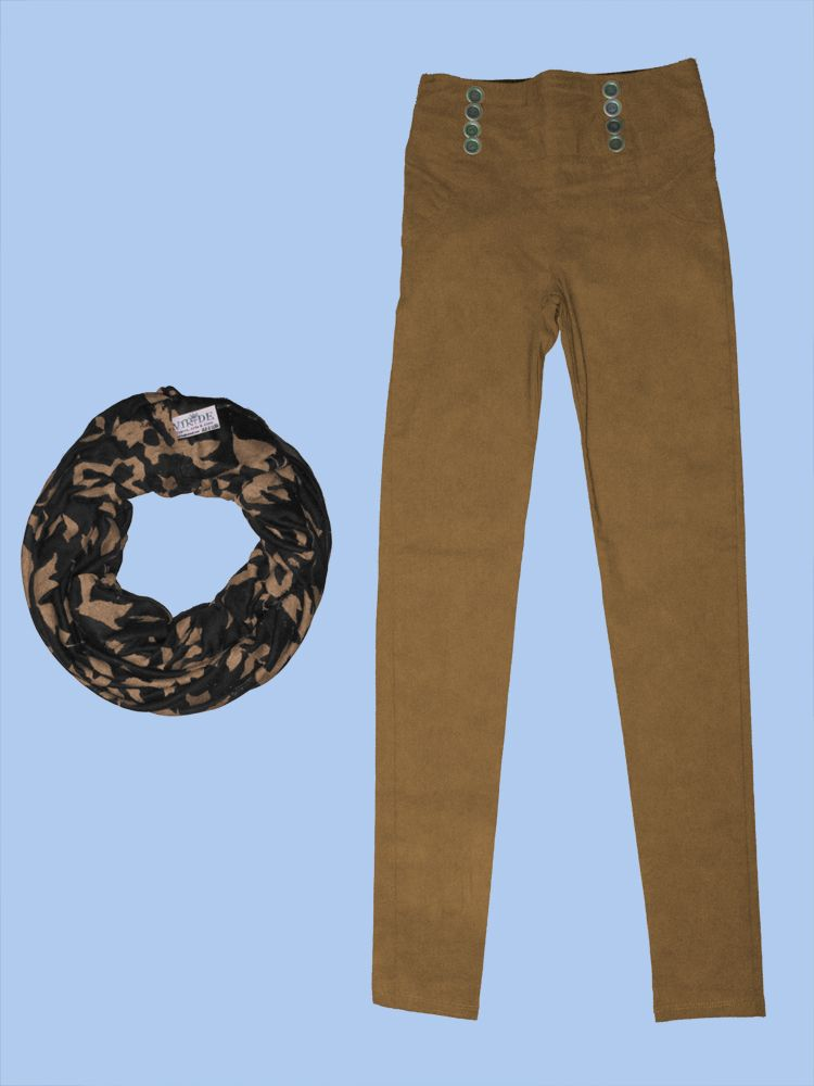 Pantalon con botones color mostaza silueta ajustada, bufanda en tela!