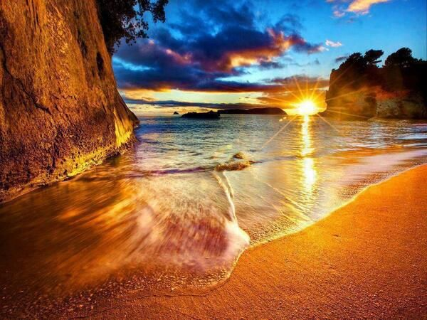 Cathedral Cove Beach Sunrise, New Zealand.