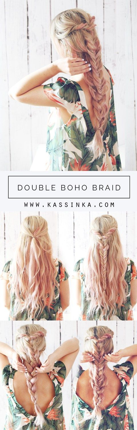 Double Boho Braid Hair Tutorial (Kassinka)