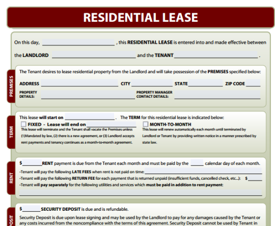 Free Lease Agreement Form Template – Sample House Lease Agreement Example