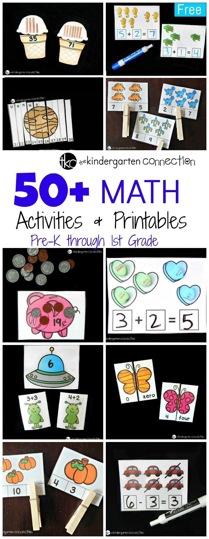 50 Incredible Math Printables And Activities The Kindergarten Connection Math Activities Preschool Math For Kids Math Printables [ 2056 x 800 Pixel ]