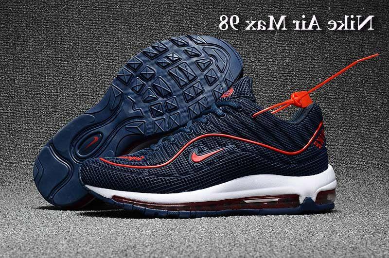 Men s Supreme x Nike Air Max 98 KPU TPU Running Shoes Dark Blue Red UK  Trainers Sale 6ec1da650