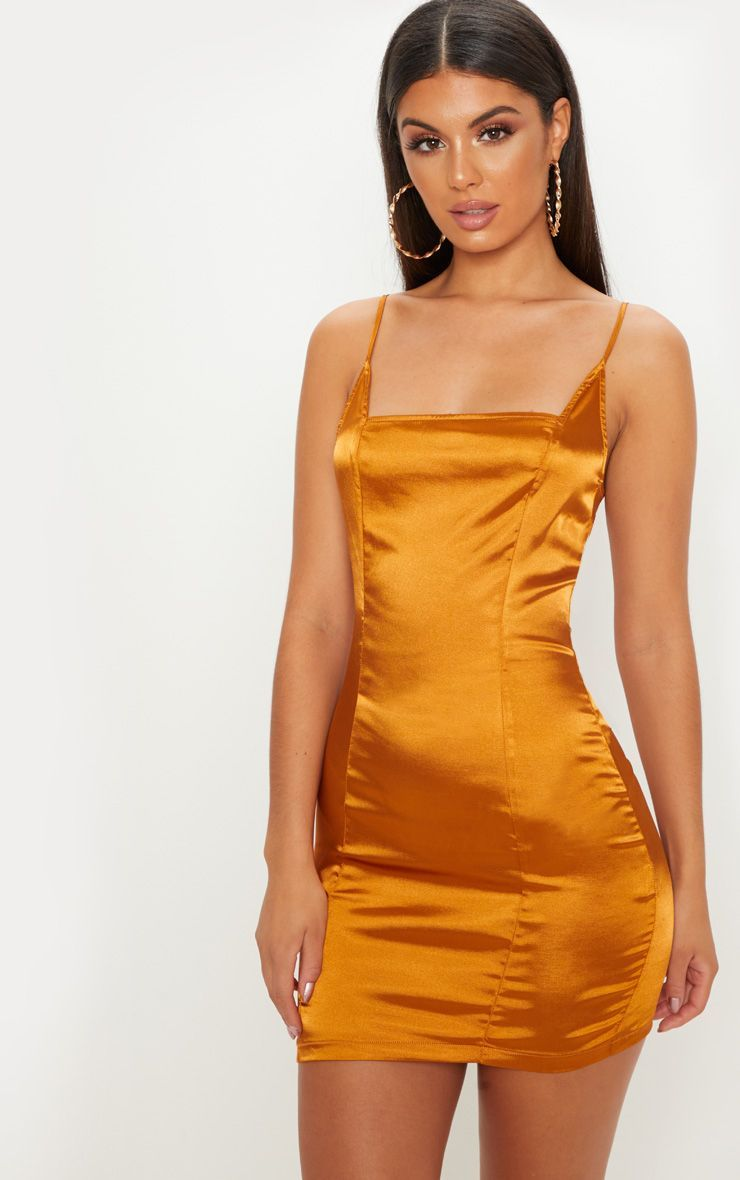 f408b3d13d869 Gold Satin Strappy Square Neck Bodycon Dress This satin dress is perfect  for a night out with your besties. Featuring a gold satin material with a  square ...