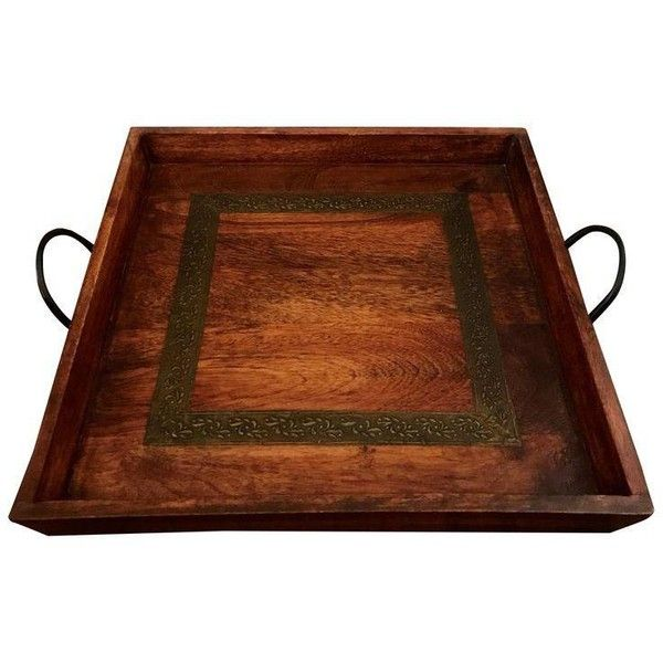 Boho Wooden Square Tray ($78) ❤ Liked On Polyvore Featuring Home, Kitchen U0026