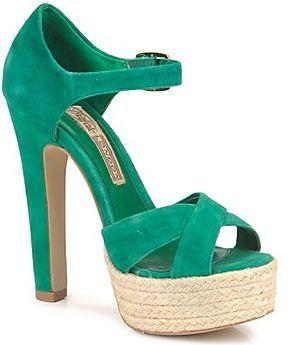 603240f9c3e5f0 Buffalo  Dasia  green suede platform sandals