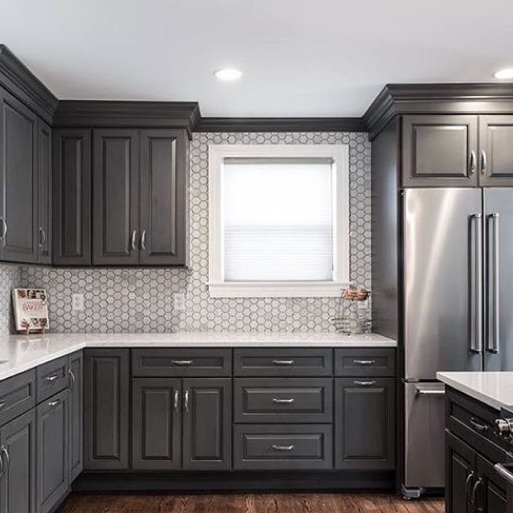 Tile by Tilebar | Home decor, Dark grey kitchen cabinets ...