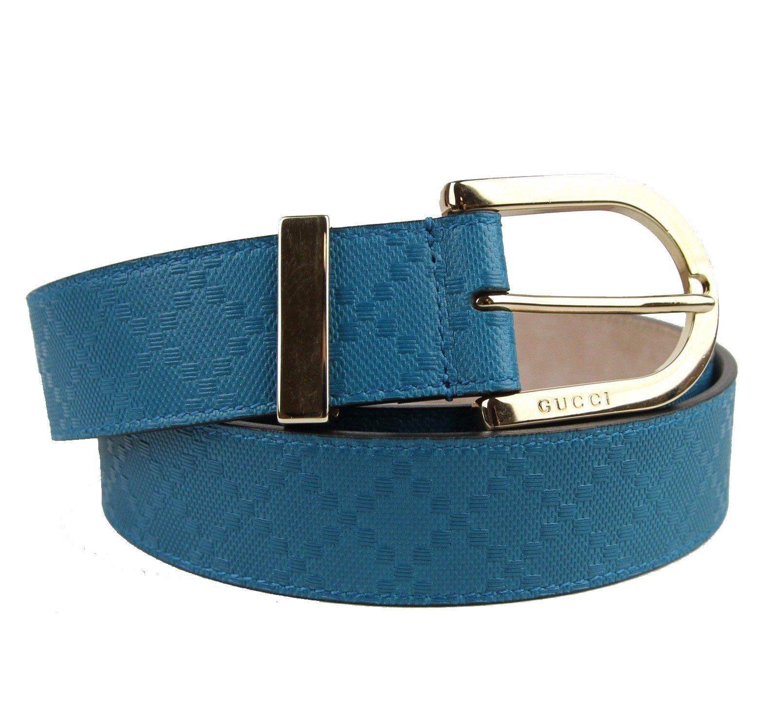 94a7cc20581 Gucci Women s Bright Tourquise Blue Diamante Leather Belt Size 40 ...