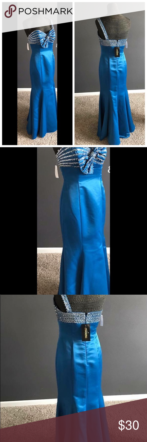 Jainini Gown Sz 4 Dark blue off center bow one strap -Beautiful and unique gown trumpet fit jainini Dresses Prom
