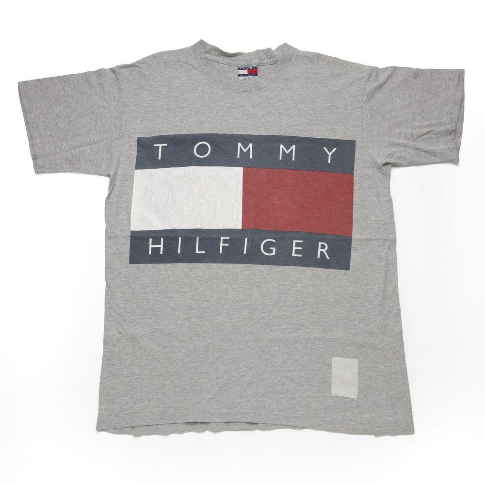 Vintage 90s Tommy Hilfiger Big Tommy Flag Logo Spell Out T-Shirt for sale!
