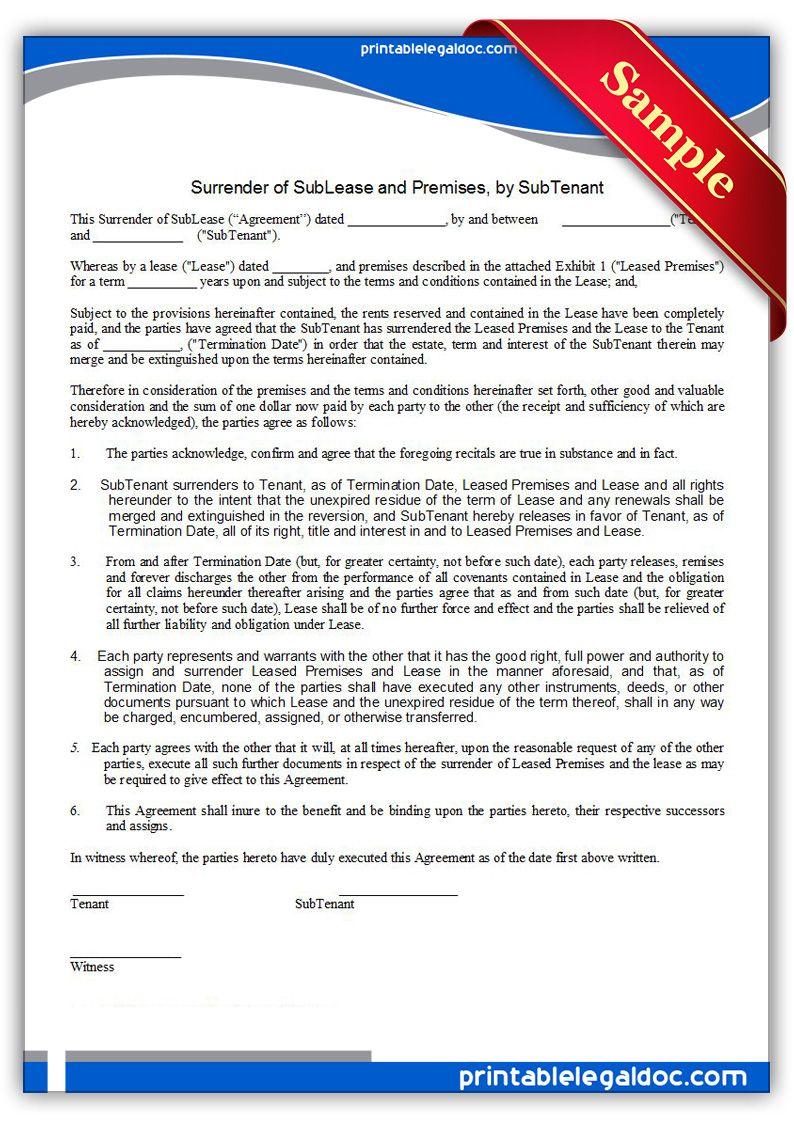 Free Printable Surrender Of Sublease & Premises, By Tenant