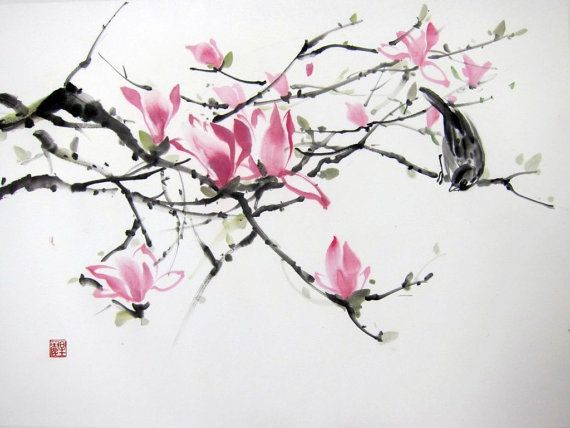 Ella Saridi Magnolia And Sparrow Suibokuga Japanese Ink Painting