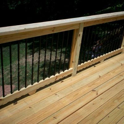 Shown Here Is A Deck That Was Designed And Built Using Traditional   Pressure Treated Wood Balusters   Deck Balusters   Rail Kit   Aluminum Balusters   Deckorators   Stair Railing