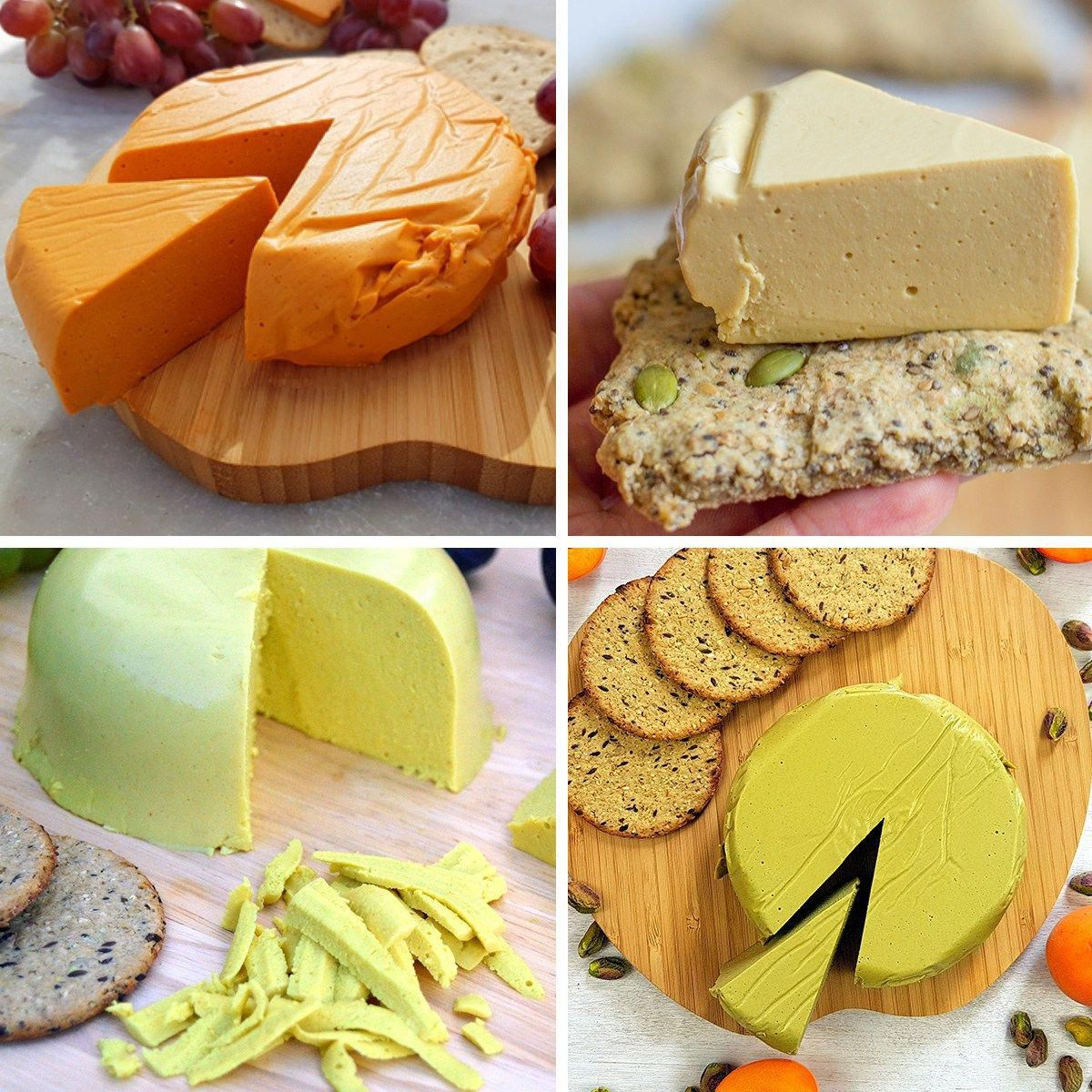 Amazing Vegan Firm Cheese Recipes - easy to make hard vegan cheese that can grate slice and melt. Made out of nuts or seeds in a few minutes and full of protein and heart healthy fats. Recipes include smoked cashew cheese, pistachio cheese , sunflower cheddar and marmite yeast extract cheese