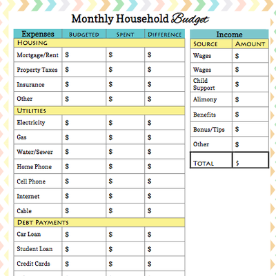 monthly budget sheets