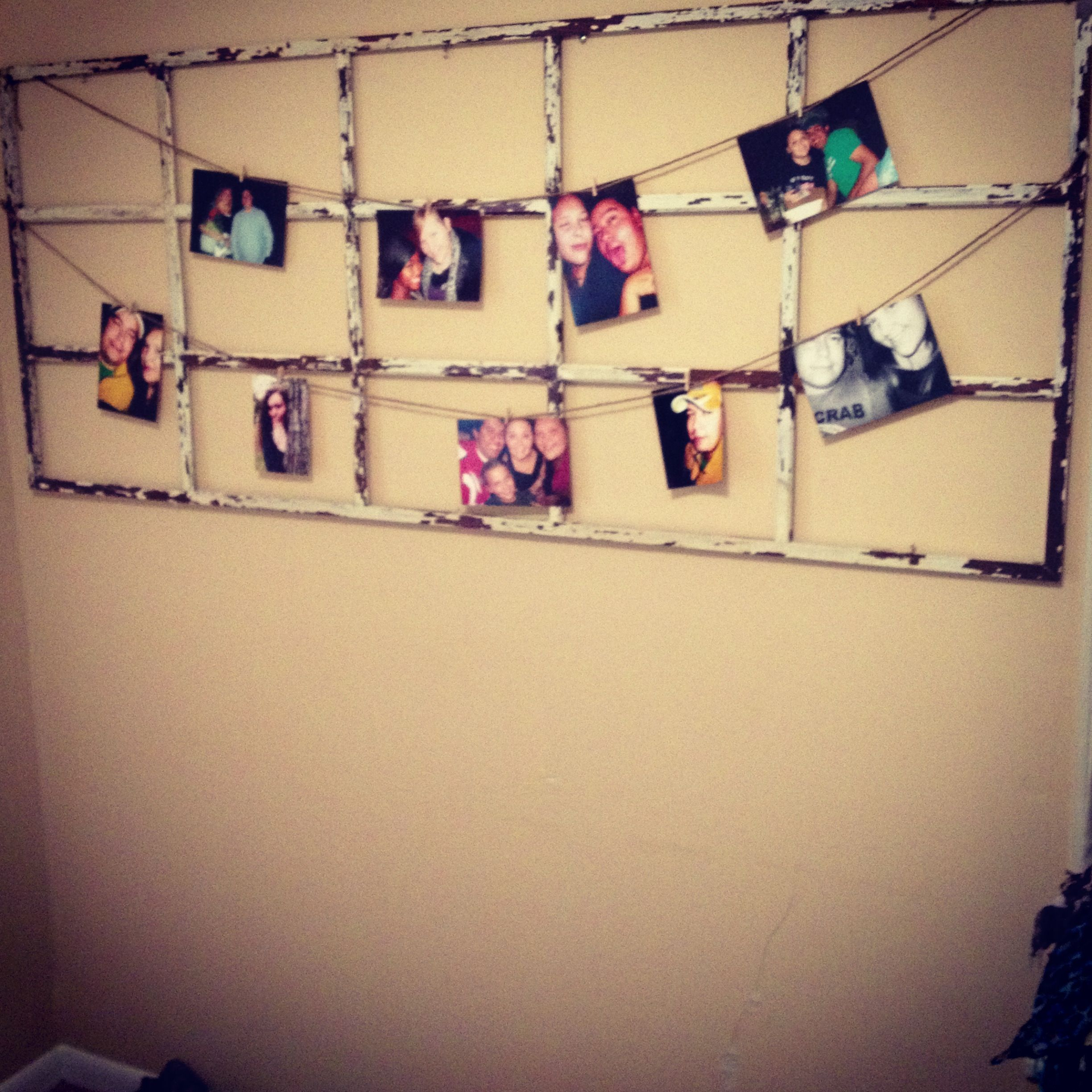 Mini clothes pins on twine on an old window pane! What an awesome ...