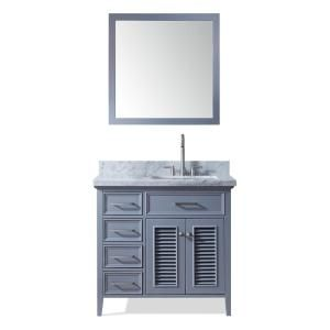 Ariel Kensington 37 In Bath Vanity In Grey With Marble Vanity Top