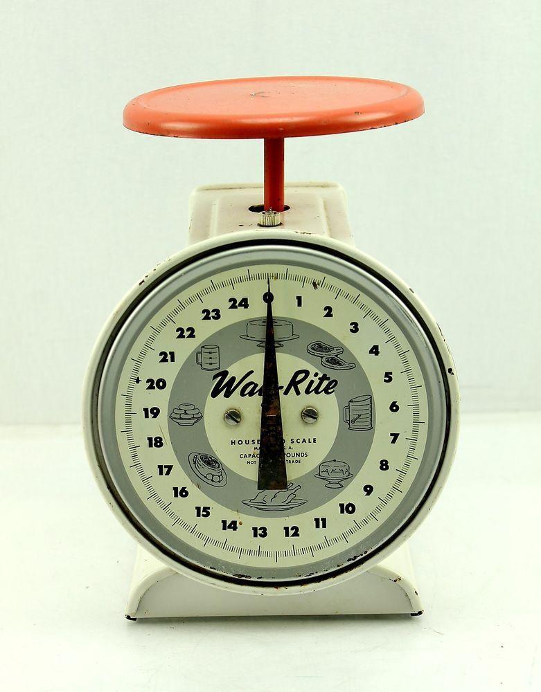 Way Rite vintage Household Kithen Scale 25 Lb Capacity White Red Orange Gray
