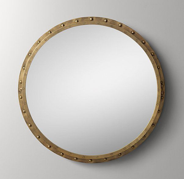 Antiqued Riveted Round Mirror Antique Brass Brass