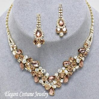 Champagne Topaz Crystal Formal Prom Necklace Set Elegant Jewelry