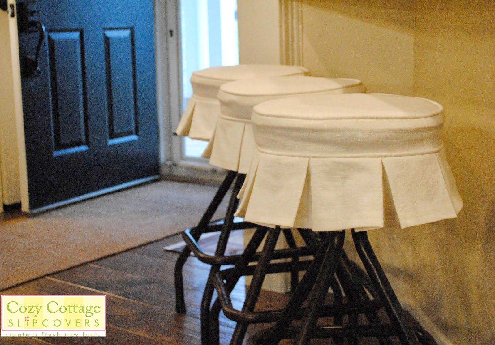 Cute Bar Stool Slipcovers With Box Pleats For Industrial