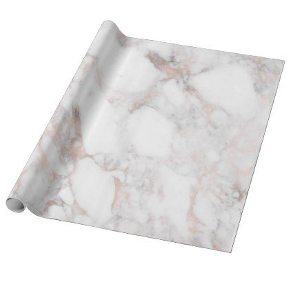 Rosegold & White Faux Marble Stone Wrapping Paper