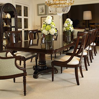 Century Furniture S Wellington Court Pedestal Dining Room Table Wood Dining Room Table Double Pedestal Dining Table North carolina dining room furniture