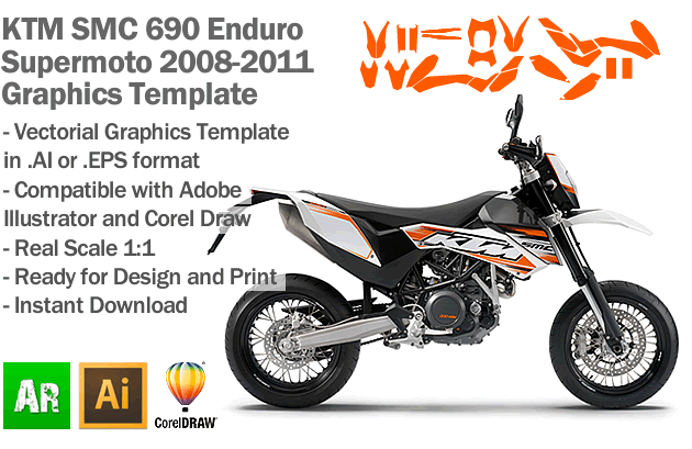 ktm smc 690 enduro supermoto 2008 2009 2010 2011 graphics template