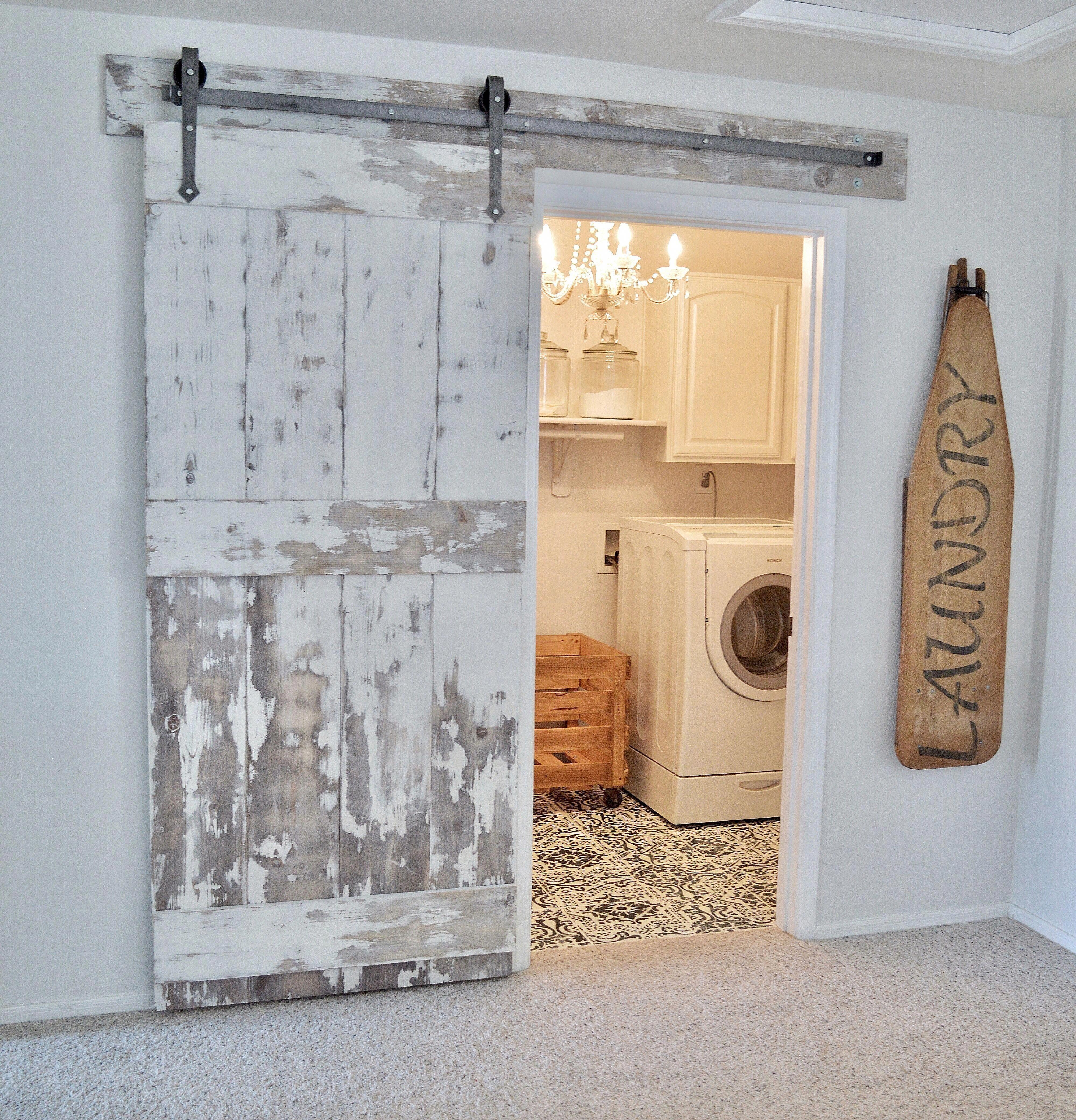 Laundry Room With Diy Barn Door And Diy Painted Tile Floors Diy Barn Door Barn Doors Sliding Sliding Barn Door Hardware