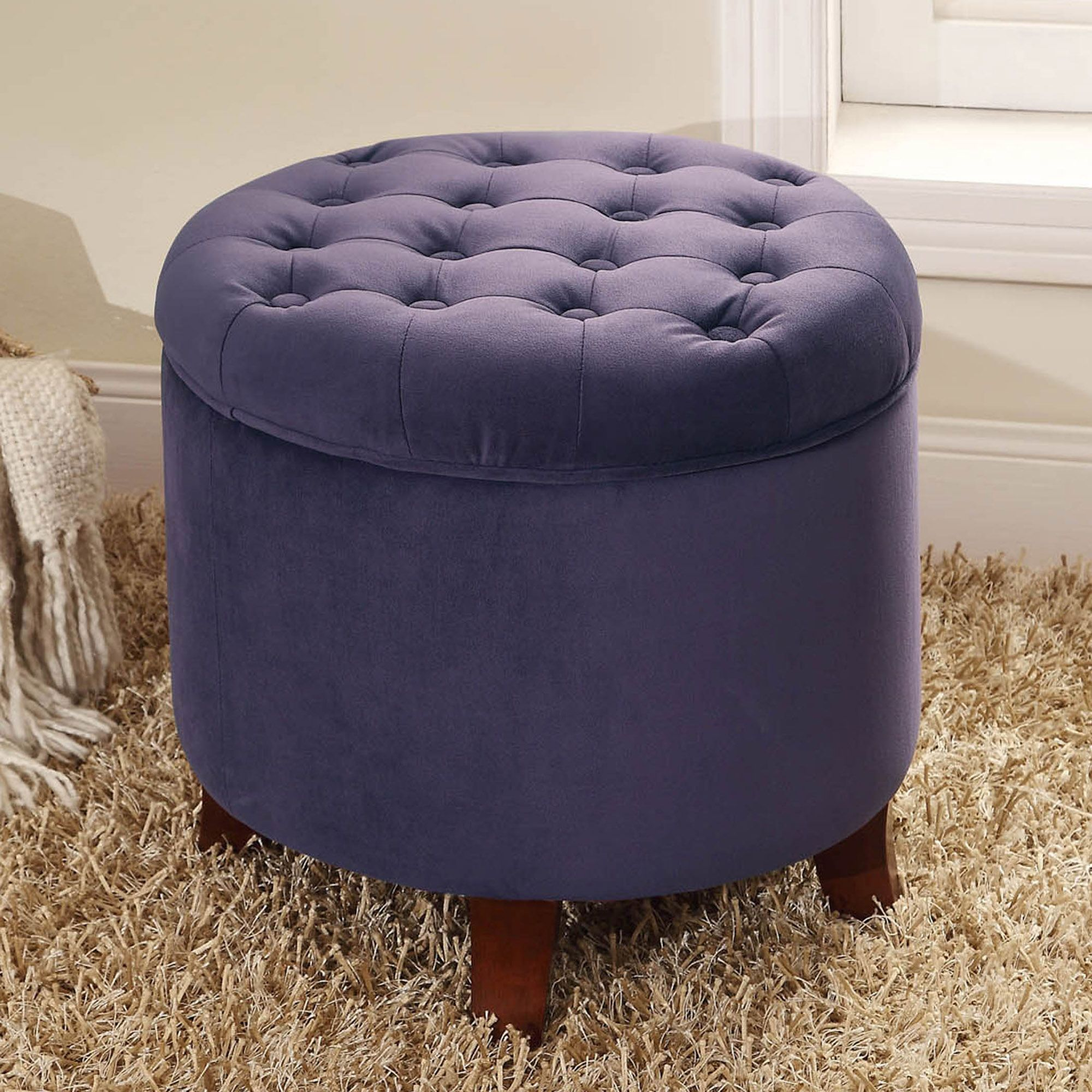 Velvet Tufted Round Ottoman With Storage With Images Round