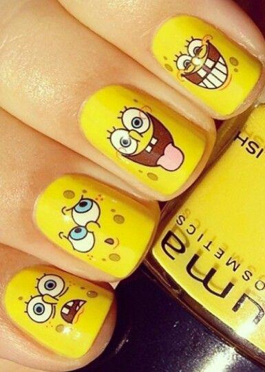 Yellow Kids Spongebob Nails Nails Pinterest Nails Nail