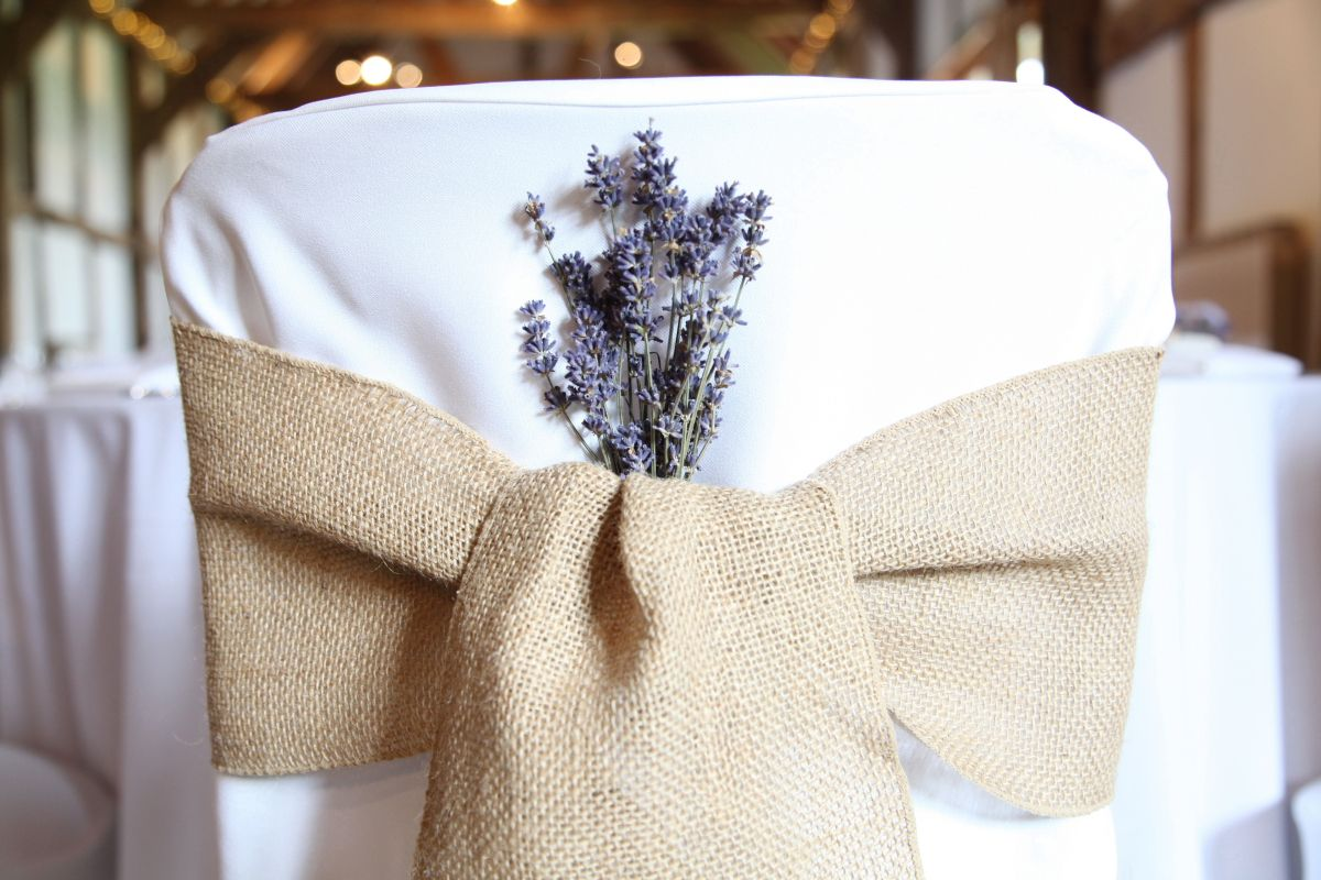 Dried Lavender Posies In Sitting Pretty Chair Covers Hessian Sashes. Image  Taken By Galileo Photogrpahy