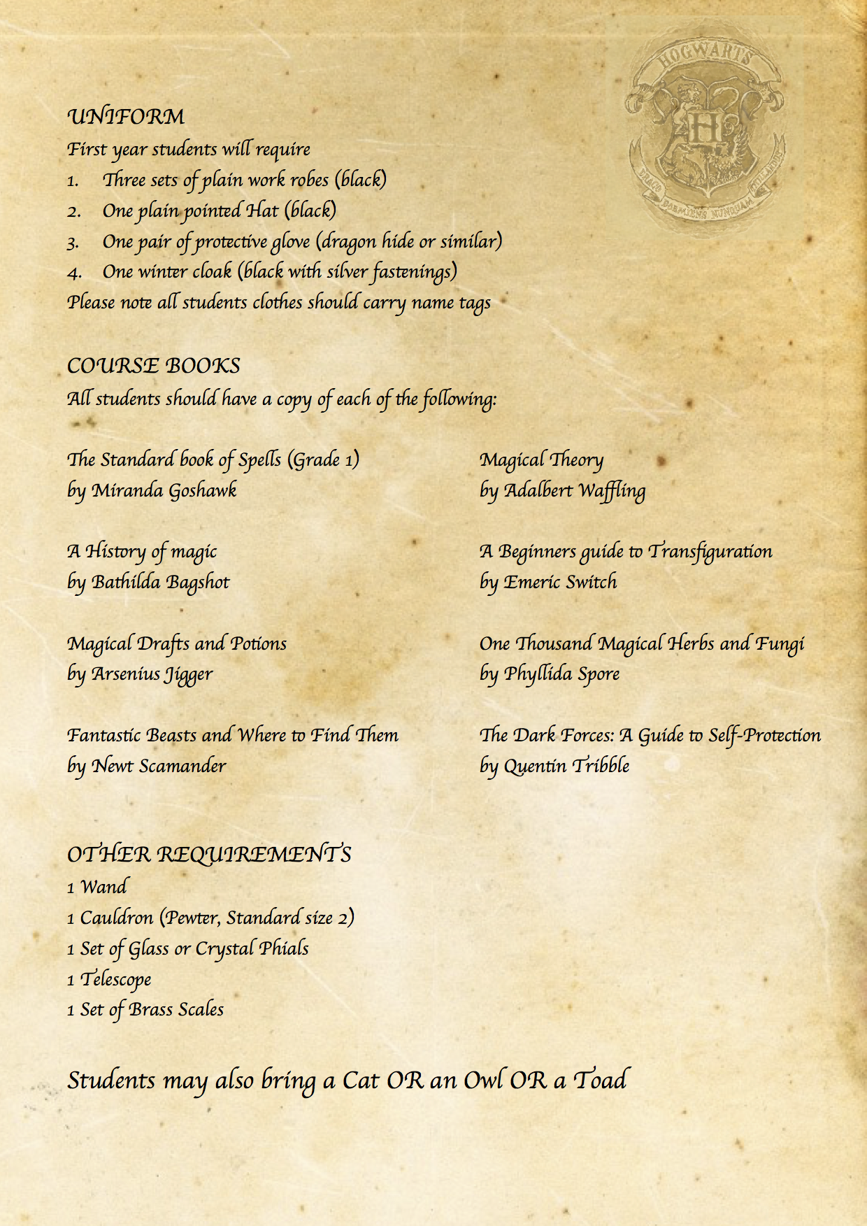Harry Potter DIY Hogwarts acceptance letter requirement
