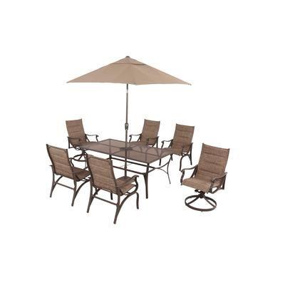 Hampton Bay   Millbury 8pc Dining Set With Millbury 9 Feet Umbrella    HDCN14605   Home