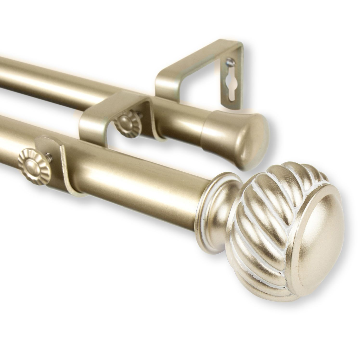 Swivel 48 84 Light Gold Double Curtain Rod