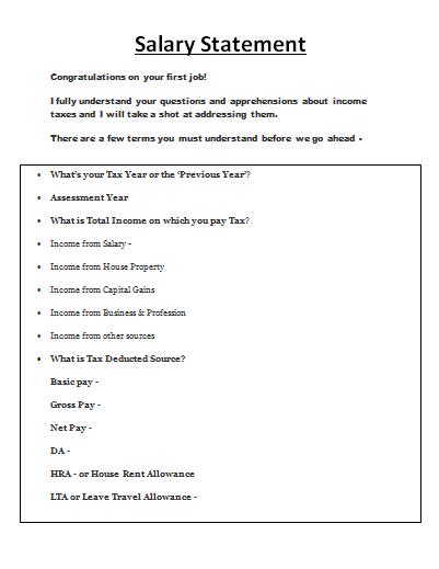 salary statement format pdf