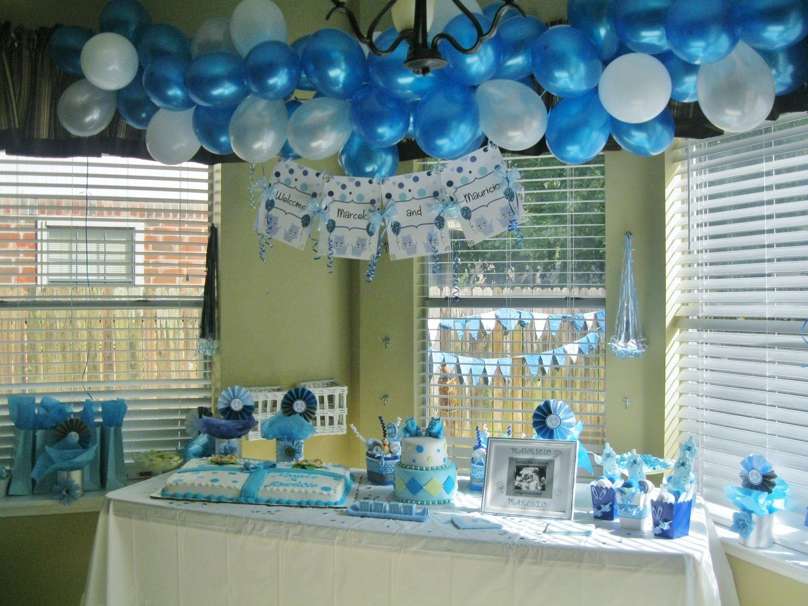 Baby boy shower ideas cute and sassy designs by bonnie for Baby shower ceiling decoration ideas