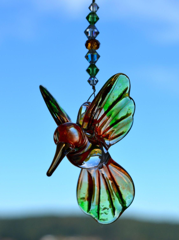Hummingbird Crystal Suncatcher Peach and Green Blown Glass