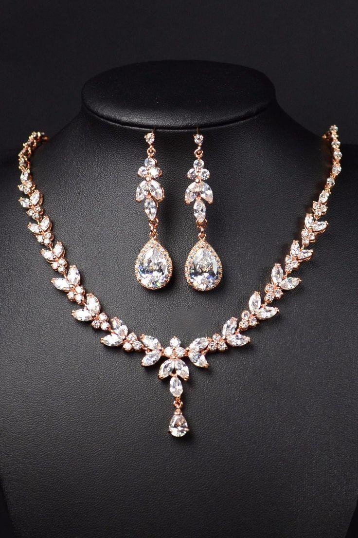 Rose gold Bridal Bridesmaid Jewelry set Long Earrings