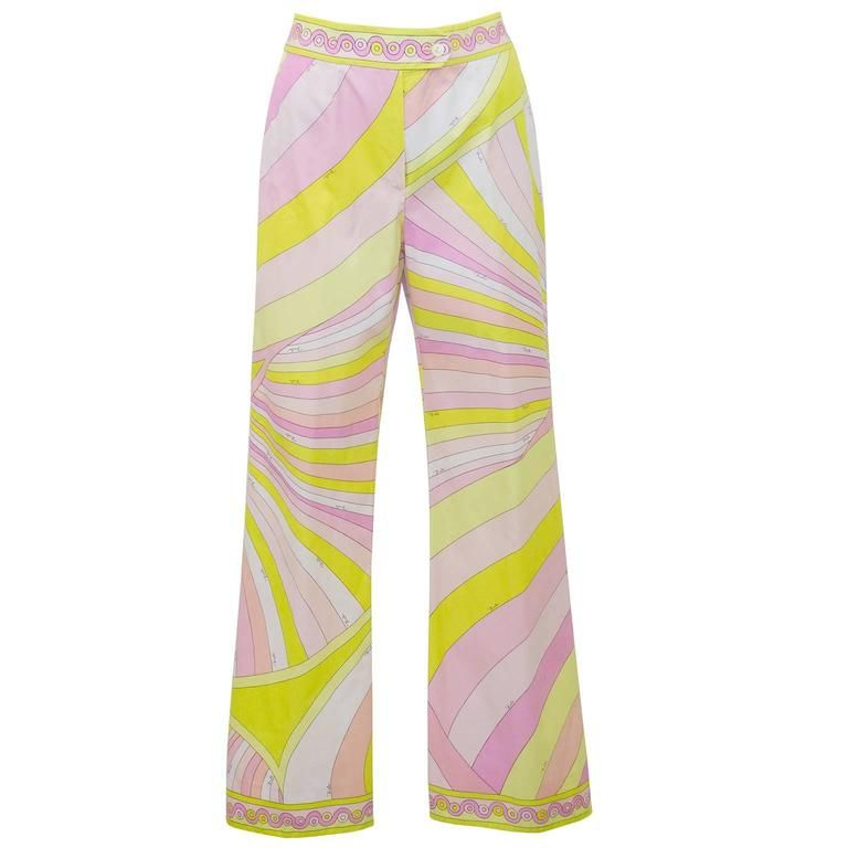 1970's Pucci Yellow and Pink Cotton Pants