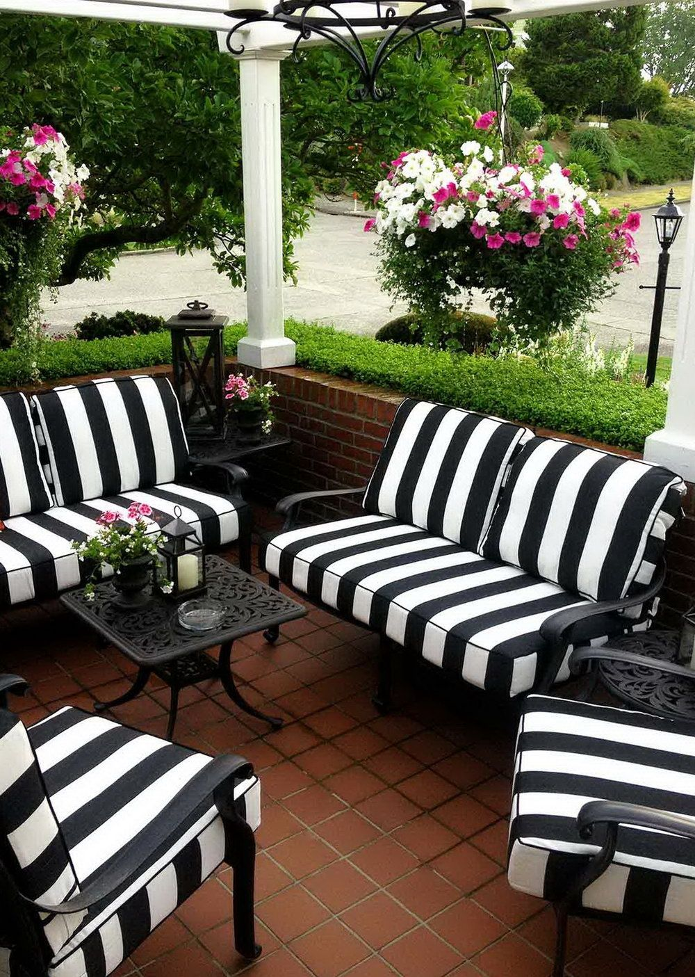 Black And White Striped Patio Cushions Black patio