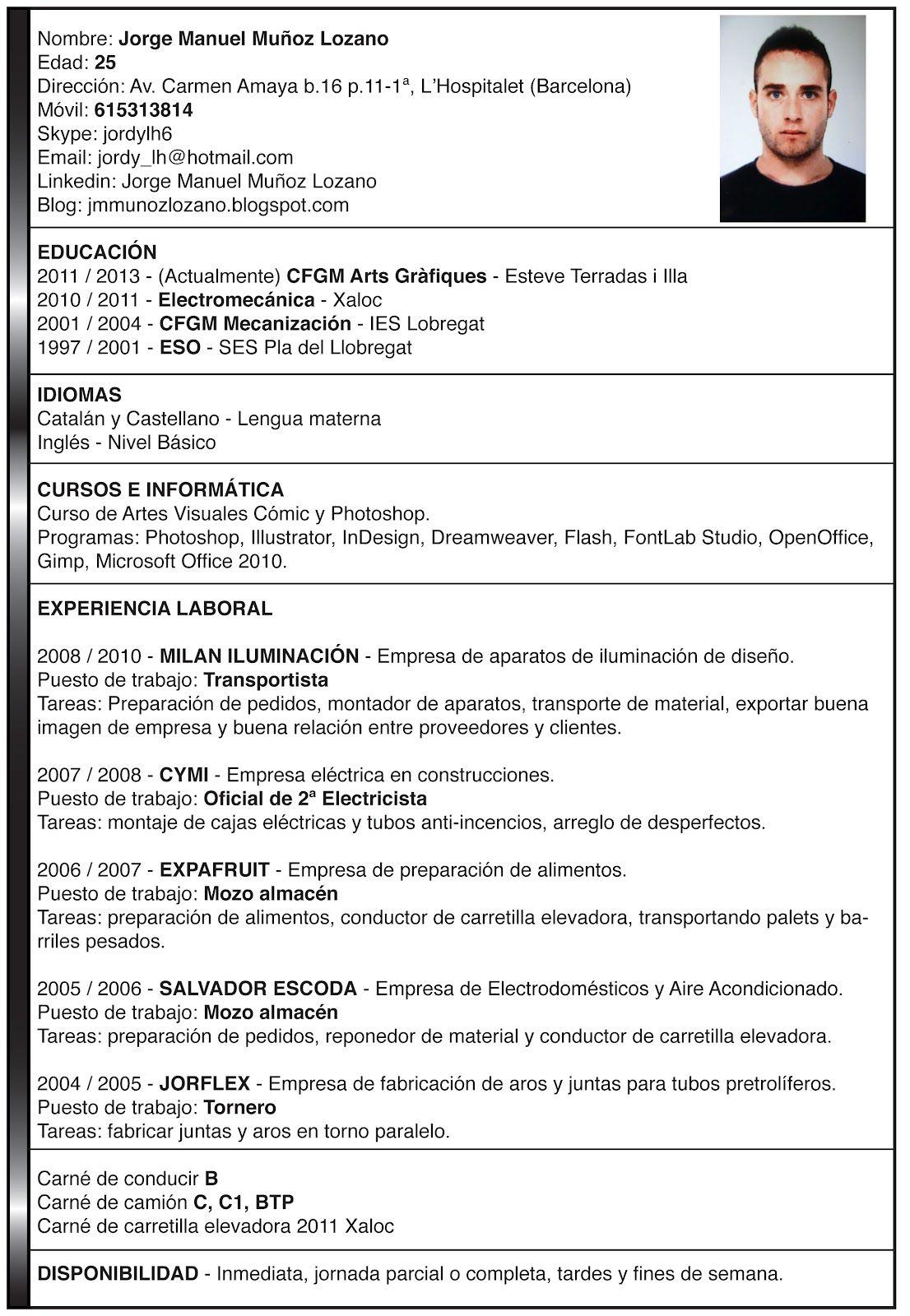 Hecho Ejemplos De Curriculum Vitae Modelos De Curriculum Vitae