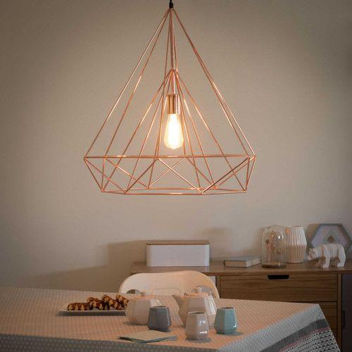 suspension g om trique en m tal filaire cuivr inspiration maison copper metal geometric. Black Bedroom Furniture Sets. Home Design Ideas