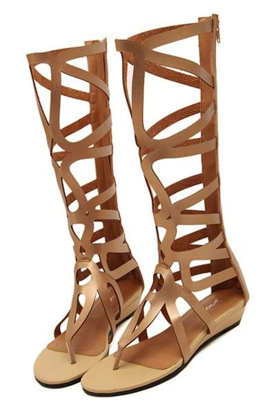 c6f38bc54580a Gold Cutout Thong Gladiator Sandals   Women s Sexy Sandals Shoes