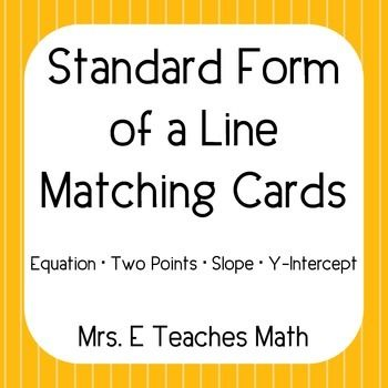 Linear Equations Card Sort Standard Form Activities And Algebra