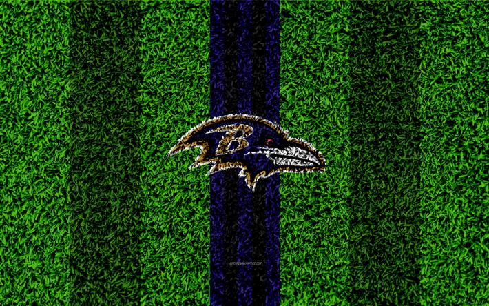 Download wallpapers Baltimore Ravens, logo, 4k, grass