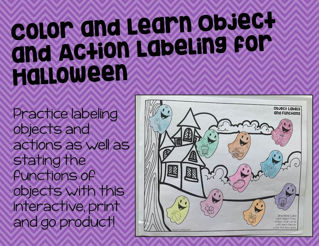 Color And Learn Object And Action Labeling For Halloween